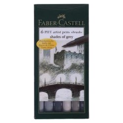 "SET 6 ROTULADORES PITT ARTIST ""S. OF GREY"" FABER-CASTELL"