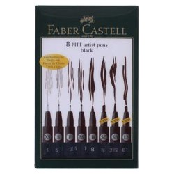 SET 8 ROTULADORES NEGROS TRAZOS XS-1,5 FABER-CASTELL