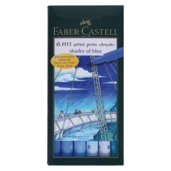 "SET 6 ROTULADORES PITT ARTIST ""S. OF BLUE"" FABER-CASTELL"