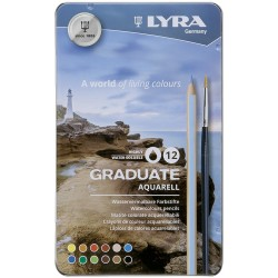 LYRA GRADUATE AQUARELL (Est. metal 12 colores+pincel)