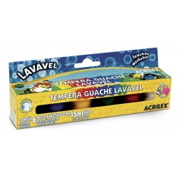 SURTIDO 6 COLORES TEMPERA GUACHE LAVABLE ACRILEX 15ml. (02106)