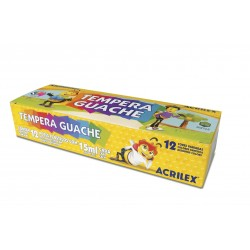 SURTIDO 12 COLORES TEMPERA GUACHE ACRILEX 15ML. (02012)