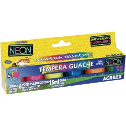 SURTIDO 6 COLORES TEMPERA GUACHE NEON ACRILEX 15ML. (01006)