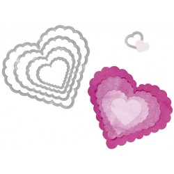 "SIZZIX MULTICORTADOR SET 5 pzas ""Hearts, Scallop"""