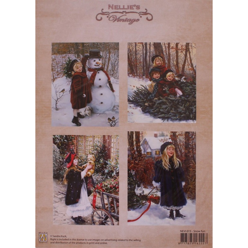 "NEVI015 PAPEL FOTOS VINTAGE ""SNOW FUN"""