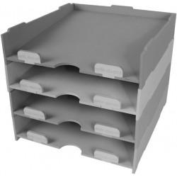 Juego de 4 bandejas apilables en madera de chopo para organizar y guardar papeles.