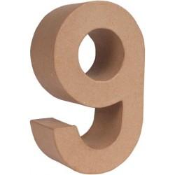 "NUMERO PAPEL MACHE 17,5X5,5CM. ""9"""