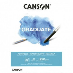 BLOC GRADUATE ACUARELA A5-14x21cm. (20hj.) 250gr. CANSON