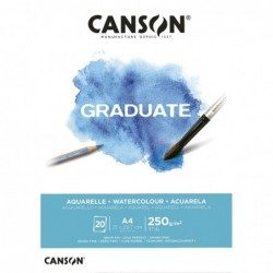 BLOC GRADUATE ACUARELA A4-21x29,7cm. (20hj.) 250gr. CANSON
