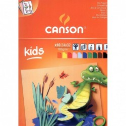 BLOC KIDS CANSON CARTULINAS COLORES A4+ (10HJ.) 185GR.