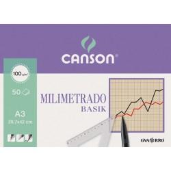 BLOC MILIMETRADO 29.7X42 (50HJ) 100GR.CANSON