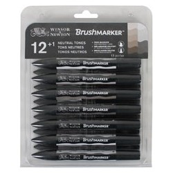 W&N BRUSH MARKER *12+1 COL. NEUTRAL (GRIS)