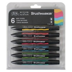W&N BRUSH MARKER 6 COL. TONOS MEDIOS