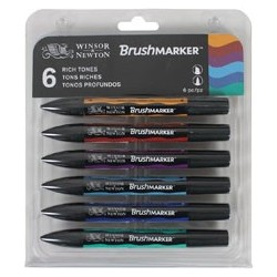 W&N BRUSH MARKER 6 COL. TONOS RICOS