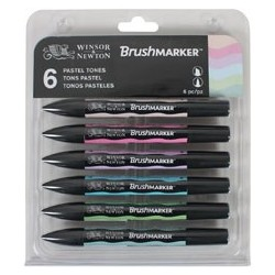W&N BRUSH MARKER 6 COL. TONOS PASTEL
