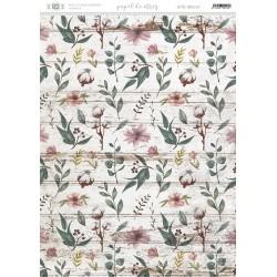 Papel de arroz con motivos florales, flores de algodón.