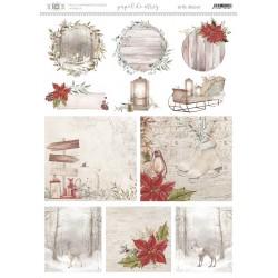 Papel de arroz con motivos navideños, a juego con la colección de Navidad en el bosque de artis decor.