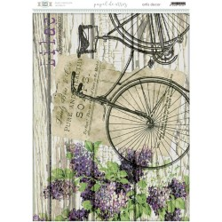 Papel de arroz con bicicleta sobre fondo de madera.
