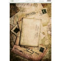 Papel de arroz fondo de cartas y sobres antiguos.