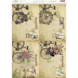 Papel de arroz, diseño de 4 postales con bibicleta y flores.