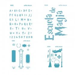 Kit de 4 plantillas de Stencil de Escuela de Magia inspiradas en el mundo de Harry Potter
