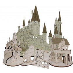 Kit de siluetas de madera de la colección Escuela de Magia inspirada en el mundo de Harry Potter