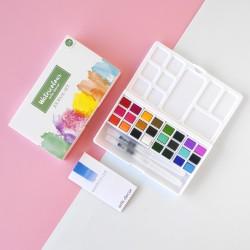 Set de acuarelas de artis decor con 24 colores y dos pinceles rellenables