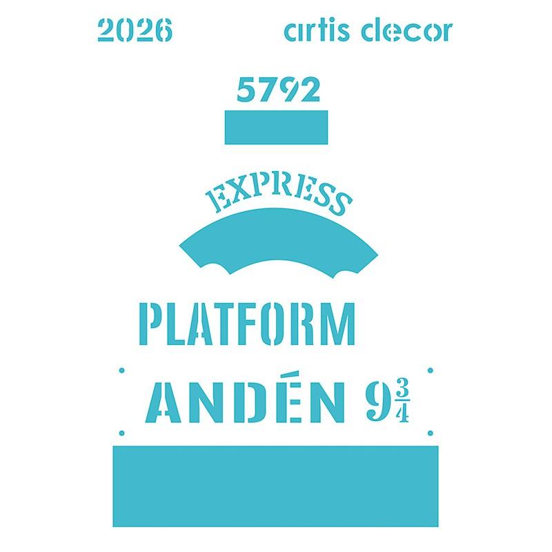 Plantilla de artis decor inspirado en el tren y el andén que lleva a Hogwarts en Harry Potter