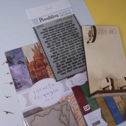 Colección de papeles + Soporte para móviles + Stencil de ladrillos Escuela de Magia