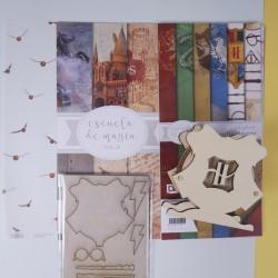 Colección de papeles + Posavasos con el escudo de Escuela de Magia
