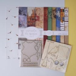 Colección de papeles + 7 elementos de Escuela de Magia