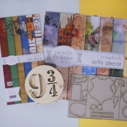 Colección de papeles + Posavasos 9 3/4 de Escuela de Magia