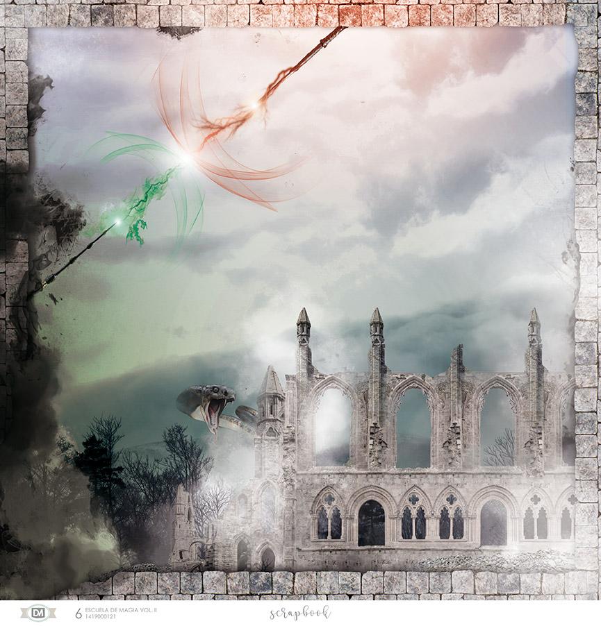 Varitas magia sobre un castillo derruido