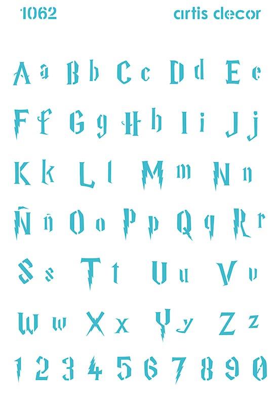 Plantilla stencil abecedario escuela de magia