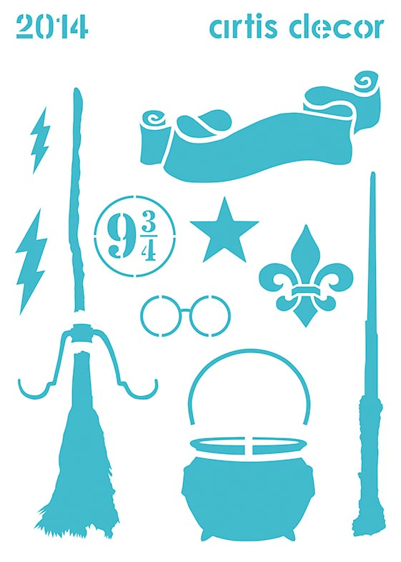 Plantilla stencil elementos escuela de magia, varita, escoba, gafas, rayo